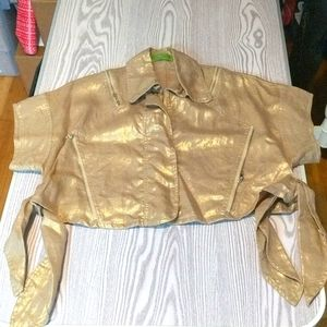 100% Linen Sz M Gold Cropped Zipper jacket